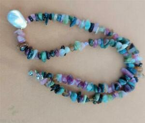17x12mm Tourmaline White Baroque Pearl Necklace 18 Inches Hang Handmade Light