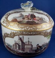 Antique 18thC Meissen Porcelain Harbor Scene Sugar Dish Porzellan Dose Box