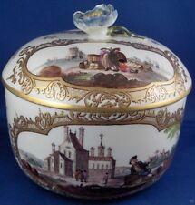 Rare 18thC Meissen Porcelain Merchant Scene Sugar Dish Porzellan Zuckerdose Box