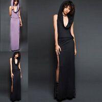 New Women Sleeveless Hooded Slim Maxi Dress Evening Party Club Side Split Dress