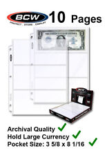 10 BCW 3 Pockets Pages For Large $ Dollar Currency Bill For 3 Rings Binder Album