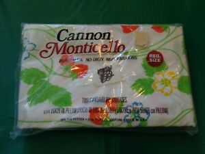 NOS Vintage Cannon Monticello Strawberries & Flowers Standard Pillowcases