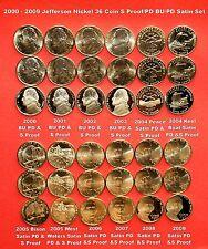 2000 ,2001 ,2002 ,2003,2004-2009 PDS Proof/Satin/BU Jefferson Nickel 36 Coin Set