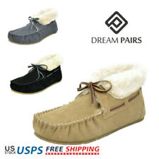 DREAM PAIRS Women Suede Sheepskin Fur Moccasins Slippers Outdoor House Shoes
