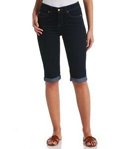 Rafaella Women's Comfort Slim Fit Denim Skimmer Bermuda Shorts in Dark Indigo