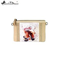 MONTANA WEST 100% Leather Rodeo Collection Clutch/Crossbody Strap~Horse Image~