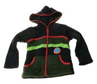 Kunst und Magie Kinder Hippie Jacke mit Kapuze Goa Psy Wichteljacke schwarz/rot