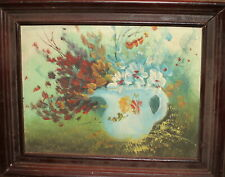 Vintage fauvist oil painting still life with wild flowers
