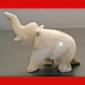 Vintage Hand-Carved Natural Onyx  Elephant Figurine