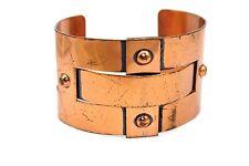 SIGNED Vtg Modernist RENOIR Wide Copper WEAVED Bracelet RIVETED INDUSTRIAL LOOK