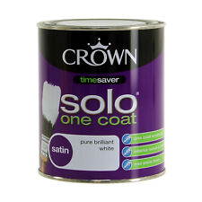 Crown 750ml Solo Satin Pure Brilliant White One Coat Interior Wood Metal Paint