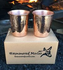 2 Pure Copper 10 oz Hammered Drinking Glass Cup Tumbler Ayurveda 10-AYU-2PK