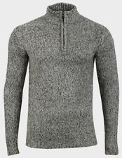 Mens Soft Knitted Grey Marl Ribbed Cuffs High Zip Neck Jumper Size S