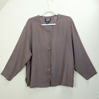 Eileen Fisher Jacket Medium Large Silk Washable Button Up Brown Boxy Lagenlook