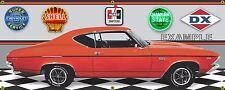 1969 CHEVY CHEVELLE SS 396 LIGHT RED GARAGE SCENE BANNER SIGN ART MURAL 2X5
