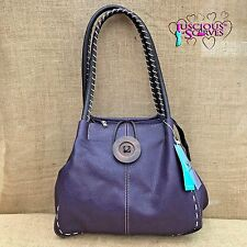 Ladies Purple Faux Leather Big Button Fashion Shoulder Bag Handbag