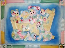 COZY CAFE CRADLE BABIES FABRIC PANEL WALL HANGING QUILT TOP BRIGHT COLORFUL NEW
