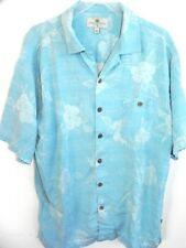 Mens Size XL XLarge Island Shores Silk Turquoise Hibiscus Flower Hawaiian Shirt