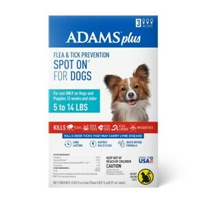 Adams Plus Flea & Tick Spot On for Small Dogs 3 Month    Free Shipping