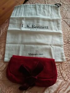Gorgeous LK Bennett Cherry Red Suede Velvet Bow Clutch Bag New & Never Used