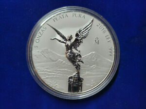 🌟2018 MEXICO LIBERTAD  5 OZ REVERSE PROOF SILVER COIN IN CAPSULE Mintage 2100