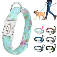 Personalized Dog Collar and Leash Floral Customized Free Engraving ID Nameplate