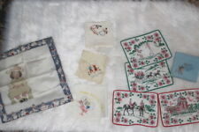 Lot of 9  antique hankies and mini placemats all figural excellent cond