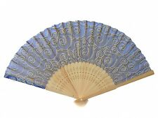 Natural Wooden Slab Folding Hand Fan with Picture of Auspicious Clouds