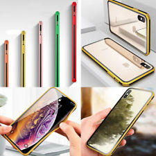 TPU Frame Bumper Shockproof Glass Cover Case For iPhone 8 7 6 6S Plus XR XS MAX