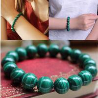 10mm Vert Malachite Bracelet Perles Pierre Bouddha Bijoux Homme Femme Charme