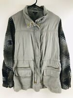 QUINN Womens Medium Khaki Brown Cargo Jacket Aztec Sleeves Wool Southwest Anorak
