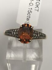 10K Yellow Gold Oval Shape Citrine and Champagne Diamond Pave Ring Size 7.25 New