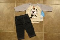 NEW bon bebe Baby Boys 2 Piece Outfit 6-9 Long Sleeve Top Pants Set Lot