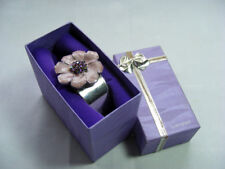 A Stunning Purple Flower Silver Bangle