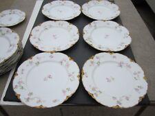 """6 VTG Haviland Limoges Pink Roses W/ Scalloped Gold Border 9.5"""" Dinner Plates #1"""