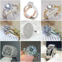 Delicate Women Fashion 925 Silver White Sapphire Ring Set Wedding Jewelry Gift