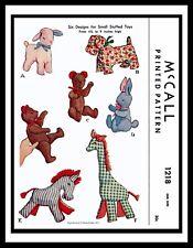 McCall 1218 Fabric Sew Pattern Stuffed Animal Toys Lamb Giraffe Zebra Bear Dog