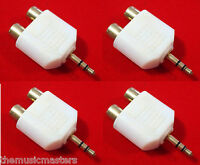 "4X 3.5MM 1/8"" Stereo Male to (2) RCA Female Jacks Audio Y Splitter Adapter VWLTW"