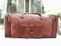 Men Love genuine Leather luggage gym weekend overnight duffle bag vintage Large