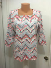Alfred Dunner Cotton Spandex  Embellished Shirt  M   3/4 Sleeves  Zigzag Striped