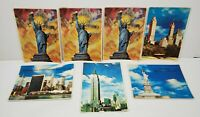 Lot of 7 Vintage 3-D New York City Postcards Statue of Liberty UN Empire State