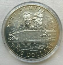 2001 Liberia 5 Dollars Uncirculated - Fort Sumter - Scuffed Case
