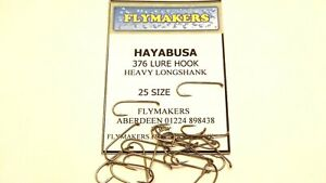25 HAYABUSA LONGSHANK LURE TROUT FLY FISHING HOOKS CODE FLY 376 FROM FLYMAKERS