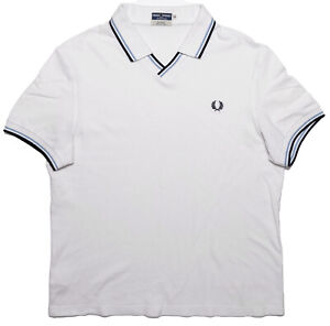 FRED PERRY Reissues Short Sleeve Polo Shirt White Blue Tipped 44 Large L