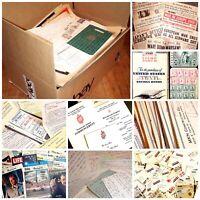 Huge Mixed Box Lot Vintage Paper Ephemera 10+ Pounds Junk Drawer Scrapbook craft