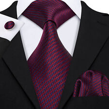 Classic Burgundy Red Tie Set Silk Jacquard Woven Men's Wedding Necktie Lot Party