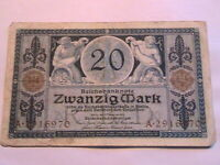 1915 Germany 20 Marks Fine+ (F+) Original WWI Paper Money Banknote Currency p-63