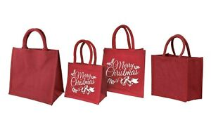 Jute burlap red gift bags high quality large medium and small hessian bags