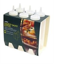 SUNNEX 8oz CLEAR PLASTIC SQUEEZY SAUCE OIL VINAIGRETTE BOTTLES PACK OF 6