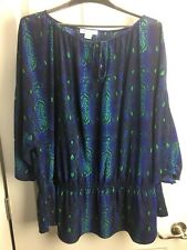 Liz Claiborne Woman Plus 3X Blue Green Elastic Waist Long Sleeve Peasant Blouse